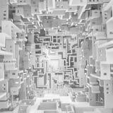 Weiß ummauert leeren Maze Surreal Lizenzfreie Stockfotos