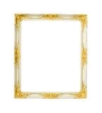 Weiß und Goldklassischer Bilderrahmen Lizenzfreies Stockfoto