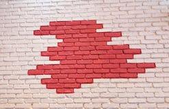 Weiß und Rot bricked Wand Lizenzfreies Stockfoto