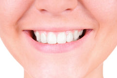 Weiß werdene Zähne. Zahnpflege Stockfotografie