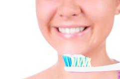 Weiß werdene Zähne. Zahnpflege Stockbild