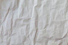 Weiß zerknittertes Papier, Hintergrund und Beschaffenheit Stockfoto