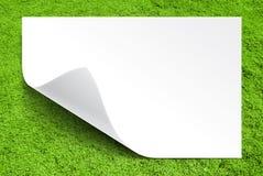 Weißbuch auf Hintergrund des grünen Grases Stockfotos
