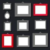Weißbuch-Rahmen-Foto-Bild-Art Painting Decoration Drawing Symbol-Schablonen-Ikonen-gesetzter stilvoller schwarzer Hintergrund Ret Stockfotos