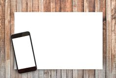 Weißbuch und Raum für Text auf altem hölzernem Hintergrund lizenzfreies stockfoto