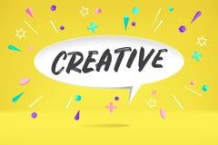 Weißbuchblasenwolke mit dem Text kreativ für Gefühl, Motivation, positives Design Plakat mit Wolkengespräch, Text lizenzfreie abbildung
