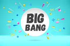 Weißbuchblasenwolke mit Text Big Bang für Gefühl, Motivation, positives Design Plakat mit Wolkengespräch, Text lizenzfreie abbildung