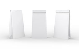 Weißbuchmittagessentasche lokalisiert auf Weiß mit Beschneidungspfad Stockfotos