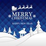 Weißbuchschnitt der frohen Weihnachten und des guten Rutsch ins Neue Jahr auf blauer Nacht entwerfen für Feiertagsfestivalfeierna Stockfotos