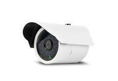Weiße Überwachungskamera mit Beschneidungspfad Stockbilder