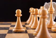 Weiße Abbildungen auf einem Schachvorstand Lizenzfreie Stockbilder