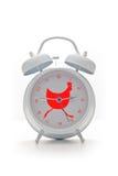 Weiße Alarmuhr getrennt auf weißem Hintergrund Stockbilder