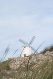 Weiße alte Windmühle auf dem Hügel nahe Consuegra Stockbild