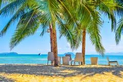 Weiße Bänke unter den Kokosnussbäumen auf dem Strand am frühen Nachmittag, happ im Feiertag und Seeansicht bei Koh Payam, Ranong, stockbilder