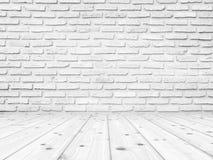 Weiße Backsteinmauer-Beschaffenheit mit weißem hölzernem foor, leerer Raum Zusammenfassungs-Hintergrund für Darstellungen Stockbild