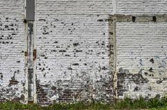 weiße Backsteinmauer mit Schalenfarbe Stockbilder
