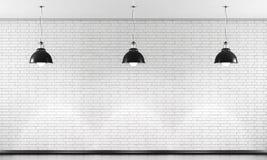 Weiße Backsteinmauer und schwarze Deckenleuchte drei 3d Stockfotos