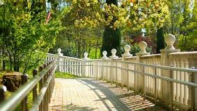 Weiße Balustrade mit Dekorationen von den Bällen in einem tropischen Park stock footage
