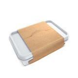 Weiße Bank mit eco Abdeckung für Lebensmittelöl, Majonäse, Margarine, Käse, Eiscreme, Oliven, Essiggurken, Sauerrahm Lebensmittel Lizenzfreies Stockbild