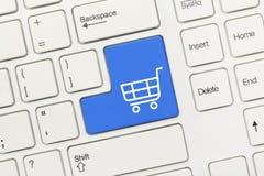 Weiße Begriffstastatur - blauer Schlüssel des Einkaufswagensymbols stockbild