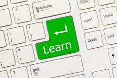 Weiße Begriffstastatur - lernen Sie (grüner Schlüssel) Stockbild