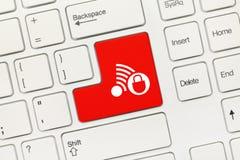 Weiße Begriffstastatur - roter Schlüssel mit Gefahrenschaltgruppe lizenzfreies stockfoto