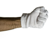 Weiße behandschuhte Hand Stockfoto