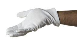 Weiße behandschuhte Hand Lizenzfreie Stockfotos
