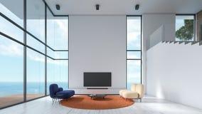 Weiße Beschaffenheitswand des modernen Innenwohnzimmerholzfußbodens mit Marineblau-Farbsofa und orange Stuhlfensterseeansichtsomm vektor abbildung