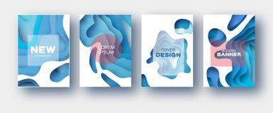 Weiße blaues Papier-Schnitt-Wellen-Formen Überlagerter Kurve Origami entwirft für Geschäftsdarstellungen, Flieger, Poster Satz vo lizenzfreie abbildung