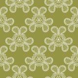 Weiße Blumen auf Olivgrünhintergrund Dekoratives nahtloses Muster lizenzfreie abbildung