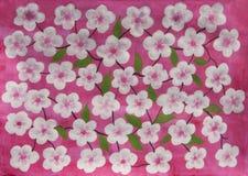 Weiße Blumen auf Rosa Stockbild