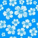 Weiße Blumen der Stickerei auf blauem Hintergrund Nahtloser Klaps des Vektors Lizenzfreies Stockfoto