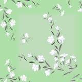 Weiße Blumen des nahtlosen Musteraquarells auf einem grünen Hintergrund Lizenzfreies Stockfoto