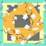 Weiße Blumen des nahtlosen Musters des Aquarells auf einem dunklen Patchworkhintergrund Lizenzfreies Stockbild