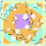 Weiße Blumen des nahtlosen Musters des Aquarells auf einem hellen Patchworkhintergrund Stockbild