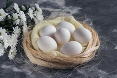 Weiße Blumen mit Hühnereien im Nest auf grauem Steinhintergrund Frühlings- und Ostern-Feiertagskonzept mit Kopienraum Stockfoto
