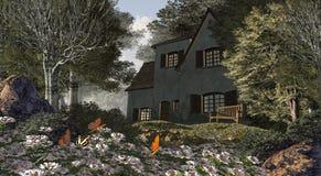 Weiße Blumen und Häuschen Stockfoto