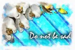 Weiße Blumen und Niederlassungen gemalt im Aquarell Stockfotografie