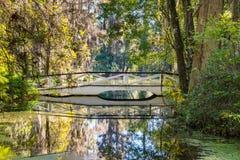 Weiße Brücke über Süd-Carolina Lake stockbild