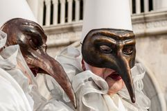 Weiße braune lange Nase Venedig-Maske Stockfotografie