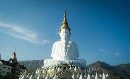 Weiße Buddha-Statue mit der goldenen Krone Stockfotos