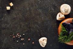 Weiße Champignon-Pilze auf dunklem Steinhintergrund Lizenzfreie Stockbilder