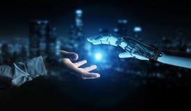 Weiße Cyborghand ungefähr, zum der menschlichen Wiedergabe der Hand 3D zu berühren lizenzfreie abbildung