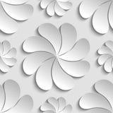 Weiße 3d Papierblume des nahtlosen Musters, Kreis, 3D tapeziert Stockfoto