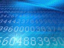 Weiße digitale Codes auf modernem blauem Hintergrund Stockfoto