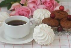 Weiße Eibische, Schokoladenmuffins, ein Tasse Kaffee und Rosen lizenzfreies stockbild
