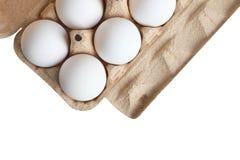 Weiße Eier in einem Kasten für Eier Lizenzfreies Stockfoto