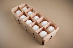Weiße Eier im natürlichen Paket Stockbild