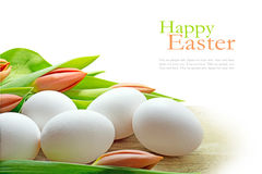 Weiße Eier und orange Tulpen, Kreuzspulmaschinenhintergrund für Ostern Lizenzfreies Stockfoto